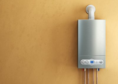 Gas-fired boiler on yellow background. Home heating.